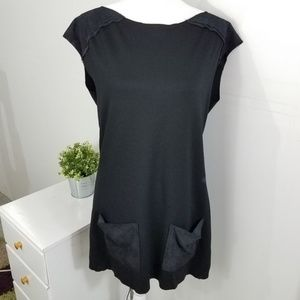 7 for All Mankind Black Leather Trim Pocket Tunic